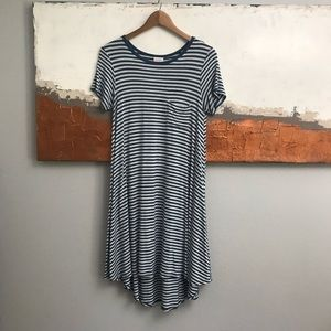 LuLaRoe Carly Blue and Gray Striped Midi Dress